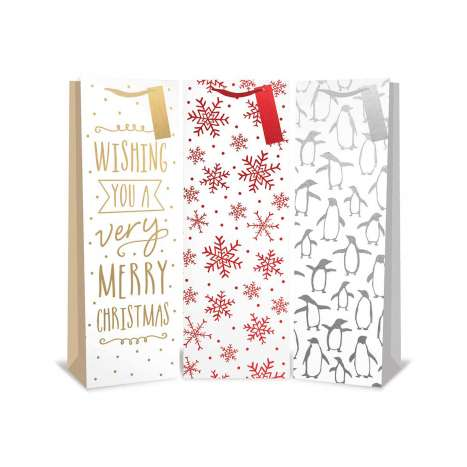 White Foil Bottle Bag - 3 Assorted Designs