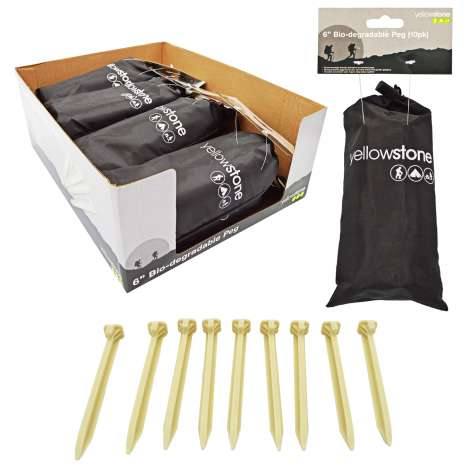 """Biodegradable Tent Pegs 6"""" - 10 Pack"""