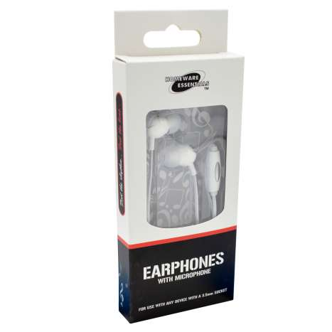 Earphones with Microphone (White) Homeware Essentials