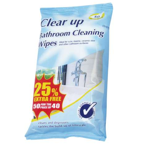 Clear Up Bathroom Cleaning Wipes 40 Pack +25% Extra Free