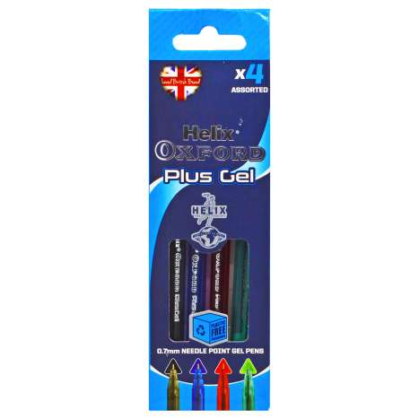 Helix Oxford Plus Gel Pens 4 Pack - Assorted Colours