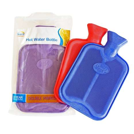 Double Ribbed Rubber Hot Water Bottles - Assorted Colours