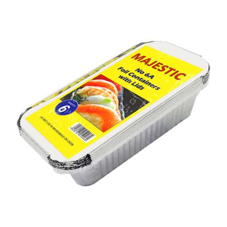 Majestic No.6A Aluminium Foil Containers with Lids 6 Pack