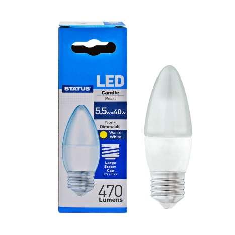 Status LED 5.5w=40w Candle Large Screw Cap Light Bulb