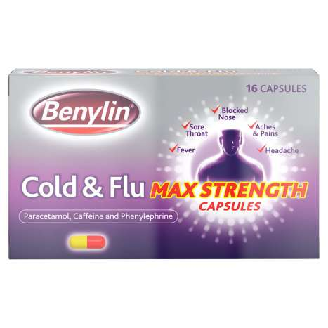 Benylin Cold & Flu Max Strength Capsules 16 Pack (*Expiry Date: 12/2020*)