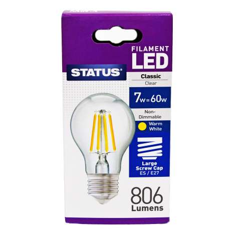 Status Filament LED 7w=60w Classic Large Screw Cap Light Bulb