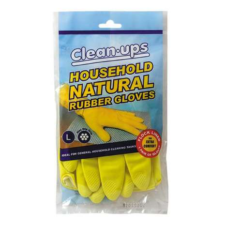 Clean-Ups Household Natural Rubber Gloves - Large