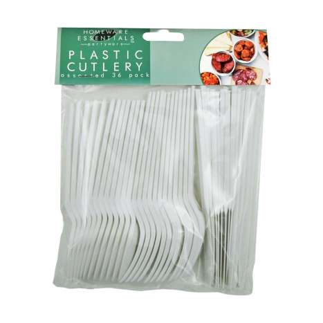Homeware Essentials Plastic Cutlery Assorted 36 Pack
