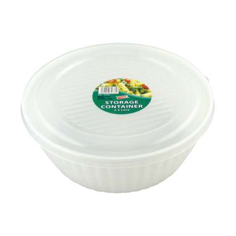 Round storage container with lid 2.5L