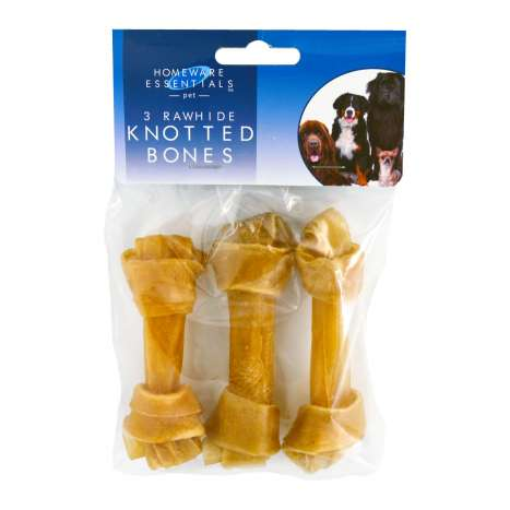Homeware Essentials Rawhide Knot Bones 3 Pack