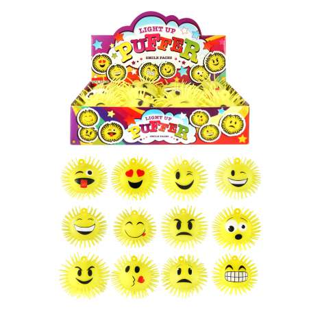 Light Up Puffer - Smile Faces - Assorted Designs