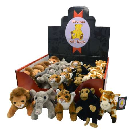 African wildlife soft toys 5 assorted - 13cm