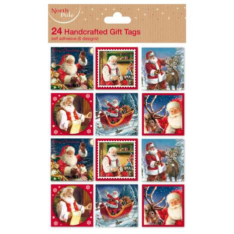 Traditional Santa Christmas tags 24PK