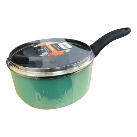 Saucepan & glass lid green 16cm