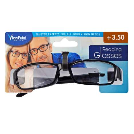 ViewPoint Optical Unisex Black Reading Glasses +3.50