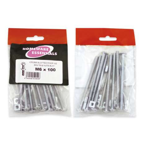 Homeware Essentials Roofing Bolts & Nuts (M6 x 100mm)
