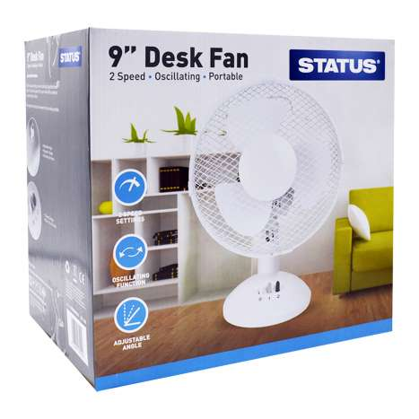 Status White Desk Fan 9""