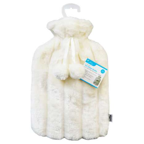 Hot Water Bottle With Faux Fur Cover 2L - Cream