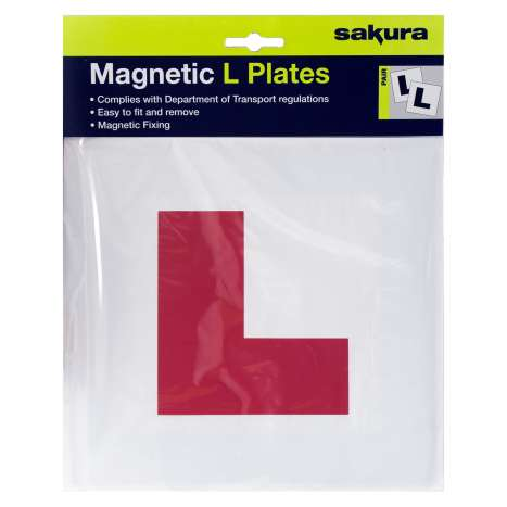 Red L plates 2pk magnetic