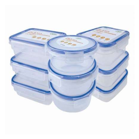 Set of 3 clip & lock storage containers 200ml