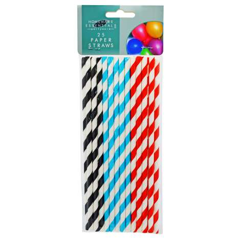 Homeware Essentials Paper Straws 25 Pack - Clip Strip Provided