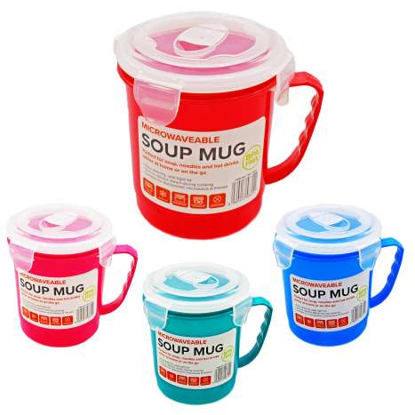 Microwaveable Soup Mug - Assorted Colours