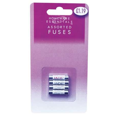 Assorted fuses 4 pack - 1x 3a, 1x 5a, 2x 13a (half case)