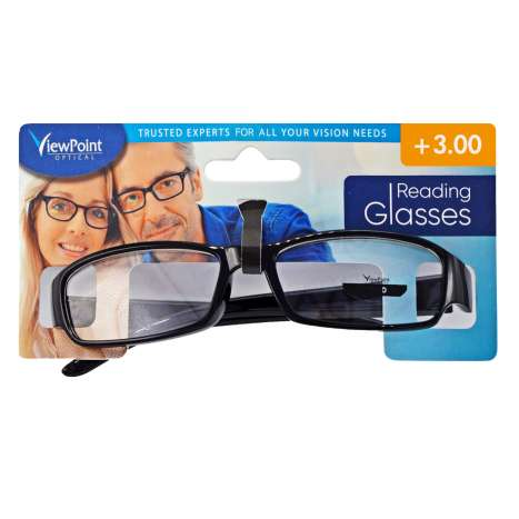 ViewPoint Optical Unisex Black Reading Glasses +3.00