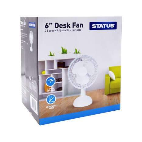 Status White Desk Fan 6""