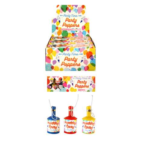 Party Poppers 12 Pack - Assorted Colours