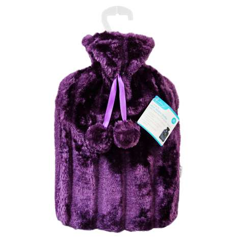 Hot Water Bottle With Faux Fur Cover 2L - Purple