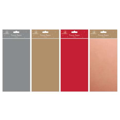 Metallic tissue paper 8 sheets - assorted colours