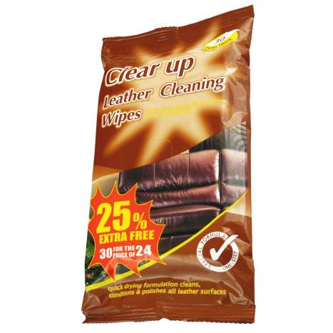 Clear Up Leather Cleaning Wipes 24 Pack +25% Extra Free