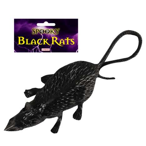 Black Plastic Rats 6 Pack