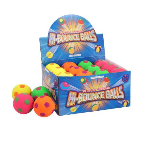 Hi-bounce balls 6.2cm 4 assorted colours (in display) - *NO BARCODE*