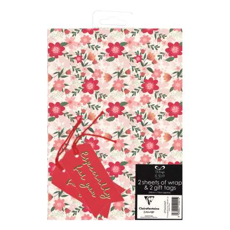 Gift Wrap 2 Pack + 2 Tags - Floral (50cm x 70cm)
