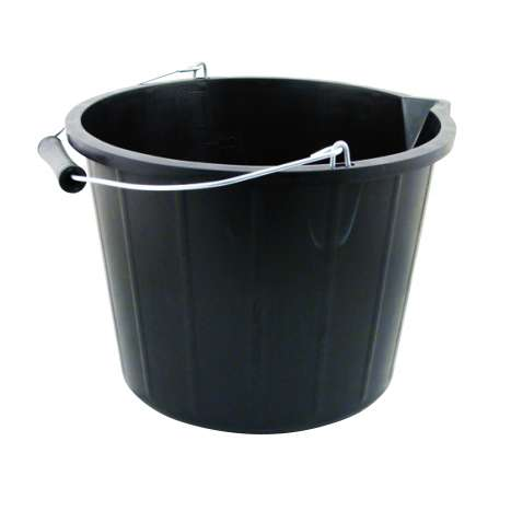 H/duty black builders bucket with lip - 12L