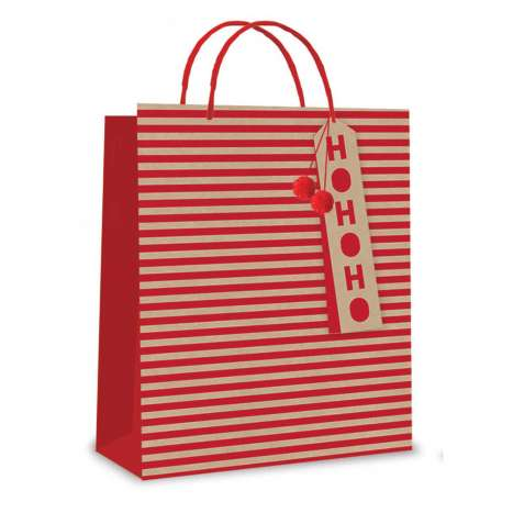 Large Red Stripe Pom Pom Kraft Bag (26 x 32 x 12cm)