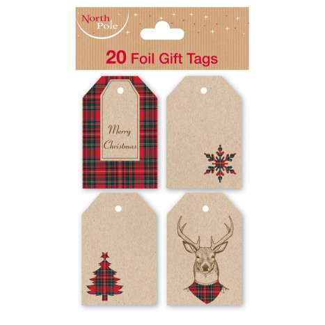 Kraft Foil Tartan Christmas Tags 20 Pack