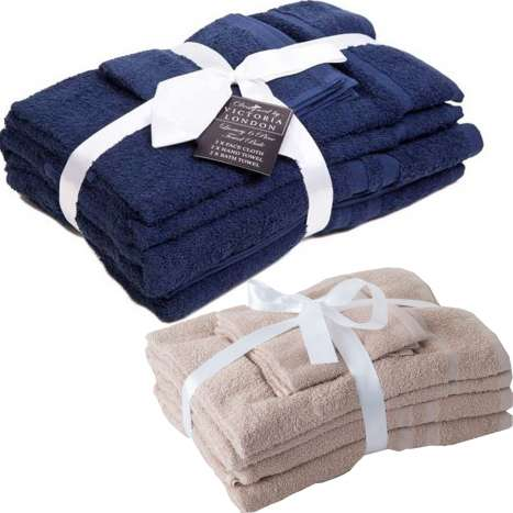 Set of towels 6pce - Assorted colours Navy/Latte