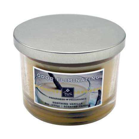 Odor eliminating 3 wick candle - vanilla fresh 9oz