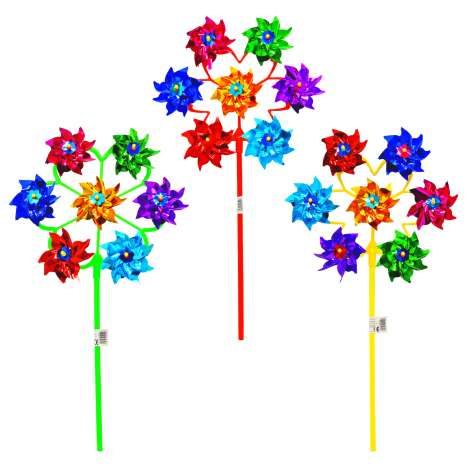Foil Windmill with 7 Heads - Assorted Colours