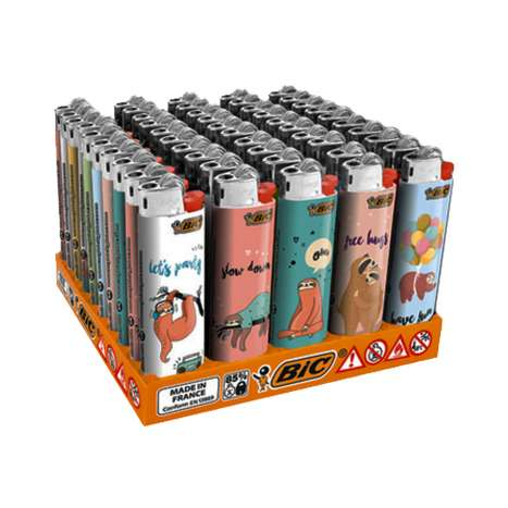 BIC Slim Flint Lighters J23 Decor - Sloth Life