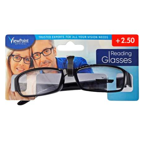 ViewPoint Optical Unisex Black Reading Glasses +2.50