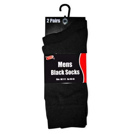 Homeware Essentials Mens Black Socks Sizes 7-11 2 Pack