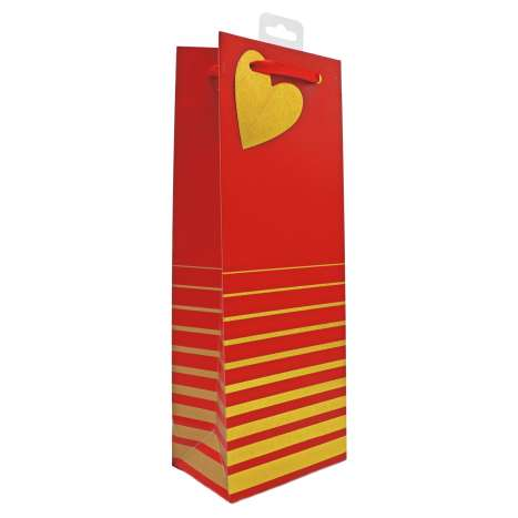 Bottle Gift Bags - Red and Gold Stripe