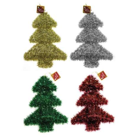 Tinsel wall plaque - Christmas tree