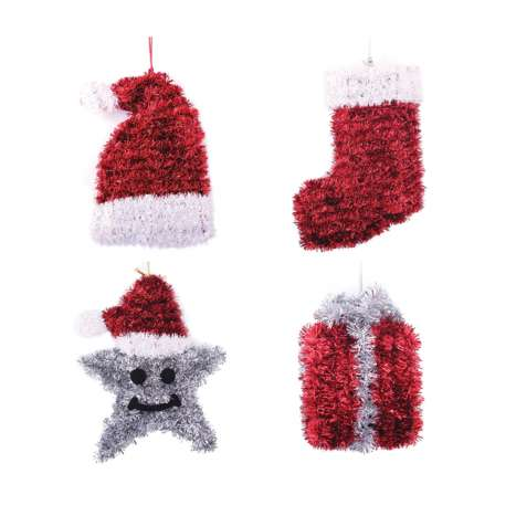 3D tinsel decoration - 4 assorted designs