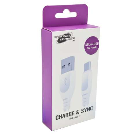 Micro USB Cable 3 Metre (White) Homeware Essentials