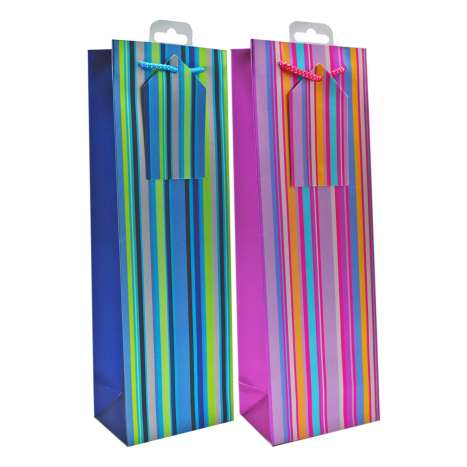 Bottle Gift Bags - Foil Stripes